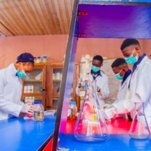 Behold our students performing practical at our science laboratory